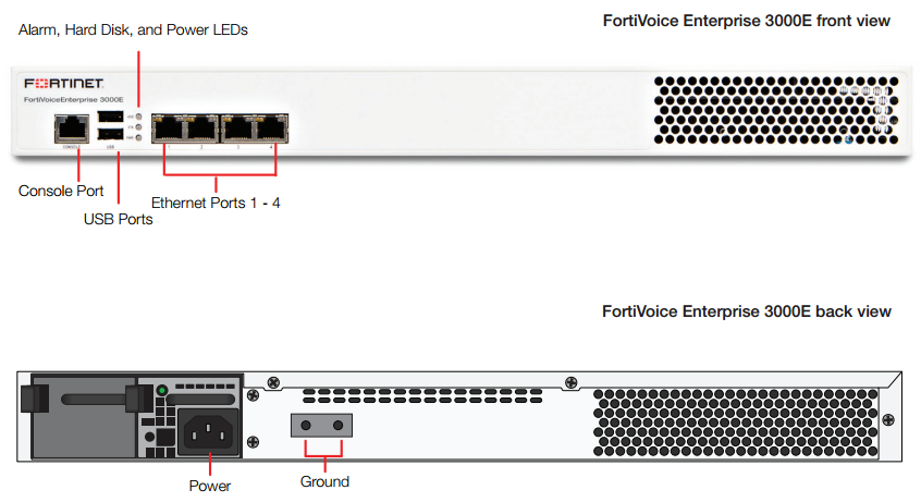 FortiVoice Enterprise 3000E Front and Rear View